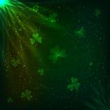 Fondo mágico del vector de los tréboles verdes brillantes ilustración del vector