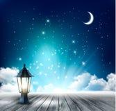 Fondo mágico hermoso de la noche con la luna y la linterna Imagen de archivo