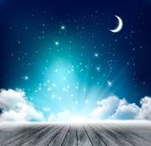 Fondo mágico hermoso de la noche con la luna y las estrellas Fotografía de archivo libre de regalías