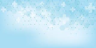 Fondo médico abstracto con el modelo de los hexágonos Conceptos e ideas para la tecnología de la atención sanitaria, medicina de  libre illustration