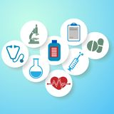 Fondo médico azul claro, insignias médicas redondas ilustración del vector