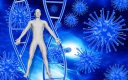 Fondo médico con las células y los glóbulos del virus 3D Fotos de archivo libres de regalías