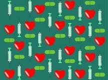 Fondo médico con las jeringuillas Imagen de archivo libre de regalías