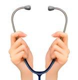 Fondo médico con las manos que llevan a cabo un stethoscop ilustración del vector