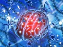 fondo médico 3D con el cerebro que es atacado por las células del virus Imagen de archivo