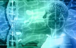 fondo médico 3D con la figura masculina con el cerebro y el filamento de la DNA Fotos de archivo libres de regalías