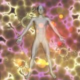 fondo médico 3D con la figura masculina en las células del virus Fotografía de archivo