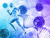 fondo médico 3D con la figura masculina que corre en las células del virus Fotos de archivo