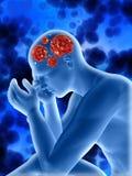 fondo médico 3D con la figura masculina que lo muestra a células del virus adentro stock de ilustración