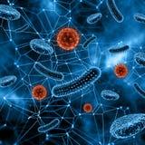 fondo médico 3D con las células abstractas del virus Fotografía de archivo