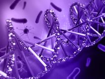 fondo médico 3D con las células del filamento y del virus de la DNA Imagen de archivo libre de regalías