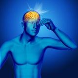 fondo médico 3D con los rayos que salen de un cerebro masculino Fotografía de archivo