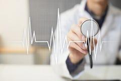 Fondo médico del concepto del pulso Medicina y atención sanitaria Fotografía de archivo