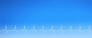 Fondo médico del gráfico del ECG azul imagenes de archivo