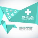 Fondo médico del vector de la forma poligonal de la papiroflexia del papel de la atención sanitaria