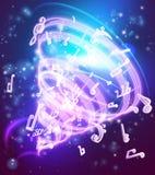 Fondo magico astratto delle note musicali di musica illustrazione vettoriale