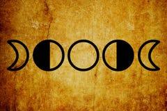 Fondo magico dell'annata di simboli di fasi lunari royalty illustrazione gratis