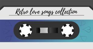Fondo magnetico dell'audionastro di retro stile dispositivo di archiviazione d'annata di musica dell'album degli anni 80 Vecchia  illustrazione di stock