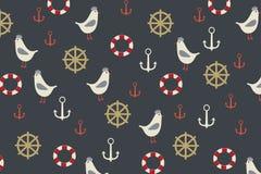 Fondo marino con la gaviota, ancla, bote salvavidas en ella stock de ilustración