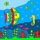 Fondo marino etnico di stile. Illustrazione di vettore. Fotografia Stock