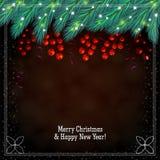 Fondo marrón de la Navidad con las bayas Imagen de archivo libre de regalías