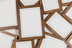 Fondo marrón de madera del marco de la foto Fotos de archivo