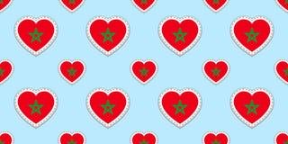 Fondo marroquí Modelo inconsútil de la bandera de Marruecos Stikers del vector Símbolos de los corazones del amor Buena opción pa Stock de ilustración