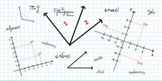 Fondo matemático de la geometría stock de ilustración