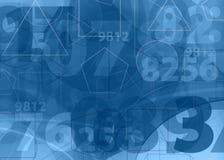 Fondo matemático del azul de los números Imagen de archivo libre de regalías