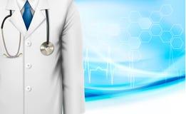 Fondo médico con una capa del blanco del laboratorio de los doctores Imágenes de archivo libres de regalías