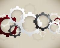 Fondo meccanico degli elementi di infographics delle ruote di vettore Fotografie Stock Libere da Diritti