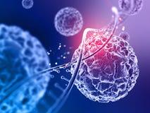fondo medico 3d con la fine su delle cellule del virus e dello stran del DNA illustrazione vettoriale