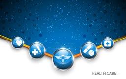 Fondo medico di concetto di sanità del bottone del cerchio Fotografia Stock Libera da Diritti