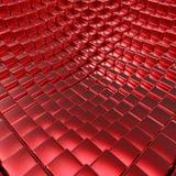 Fondo metálico cepillado rojo abstracto de los cubos 3D Imagenes de archivo