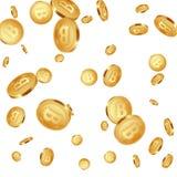 Fondo metálico de los bitcoins que cae stock de ilustración
