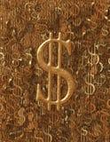 Fondo metálico del símbolo del dólar del oro áspero (USD) Imagen de archivo