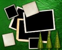 Fondo metálico verde con los marcos. Fotografía de archivo libre de regalías