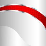 Fondo metallico astratto con l'elemento rosso Immagini Stock