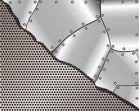 Fondo metallico con la griglia ed i piatti d'acciaio Fotografia Stock