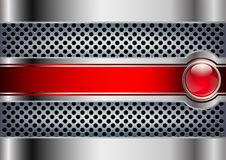 Fondo metallico con un bottone rosso Fotografia Stock