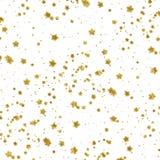 Fondo metallico di bianco della stella della stagnola del Faux delle stelle d'oro Immagine Stock Libera da Diritti