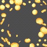 Fondo metallico di caduta dei bitcoins Fotografia Stock Libera da Diritti