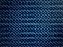 Fondo metálico azul de la red del hexágono o del panal Foto de archivo