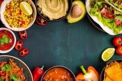 Fondo mexicano mezclado de la comida Foto de archivo libre de regalías