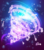 Fondo mágico abstracto de las notas musicales de la música Fotografía de archivo libre de regalías