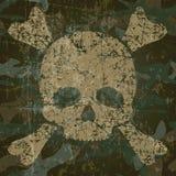 Fondo militar con el cráneo y la bandera pirata Imagen de archivo
