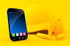 Fondo militare con lo Smart Phone Immagini Stock Libere da Diritti