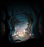 Fondo misterioso del bosque stock de ilustración