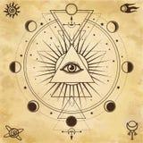 Fondo misterioso: pirámide, todo-viendo el ojo, geometría sagrada stock de ilustración