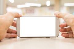 Fondo mobile di bianco dello spazio di tocco della mano Fotografia Stock Libera da Diritti